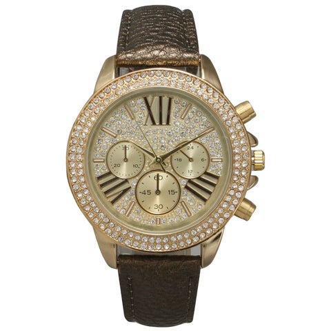 Olivia Pratt Rhinestone Bezel Leather Classic-inspired Women's Watch