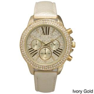 Olivia Pratt Rhinestone Bezel Leather Classic-inspired Women's Watch (4 options available)