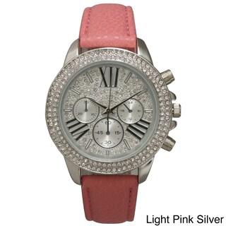 Olivia Pratt Rhinestone Bezel Leather Classic-inspired Women's Watch