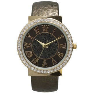 Olivia Pratt Women's Metallic Center Rhinestone Dial Leather Bangle Watch