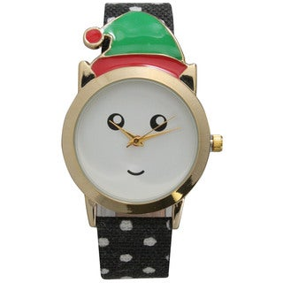 Olivia Pratt Women's Christmas Hat Red, Black, and Green Leather Reindeer Watch