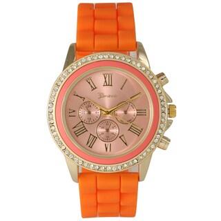 Olivia Pratt Women's Metal and Stainless Steel Rhinestone-accented Decorative Chronograph Watch (Option: Orange)