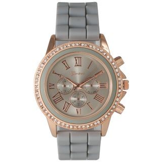 Olivia Pratt Women's Metal and Stainless Steel Rhinestone-accented Decorative Chronograph Watch (Option: Grey)