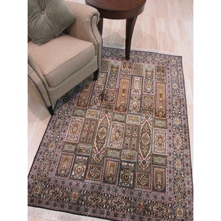 Hand-knotted Silk Traditional Oriental Kashmir Rug (4'1 x 5'11)