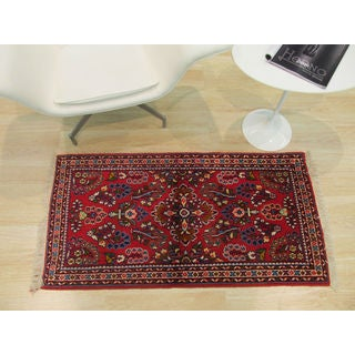 EORC Red Wool Hand-knotted Sarouk Rug (2'1 x 4'1)