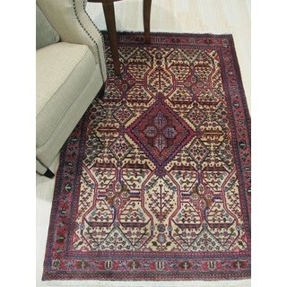 Hand-knotted Wool Ivory Traditional Oriental Abadeh Rug (3'10 x 5'5)