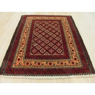 Hand-knotted Wool Rust Traditional Oriental Baluchi Rug (2'4 x 2'11)