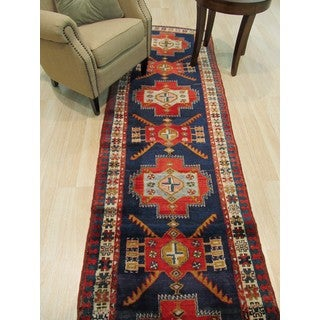 Hand-knotted Wool Blue Traditional Oriental Hamadan Rug (2'11 x 10'4)