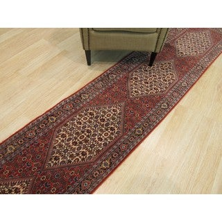 Hand-knotted Wool Rust Traditional Oriental Bidjar Rug (2'2 x 11'10)