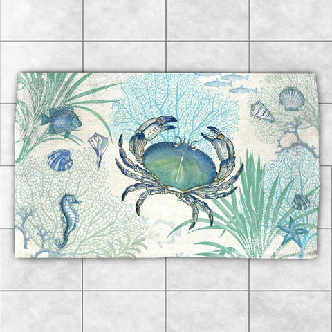 Laural Home Creature of the Sea Blue/Green Polyester Accent Rug