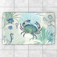 Laural Home Creature of the Sea Blue/Green Polyester Accent Rug - 2' x 3'