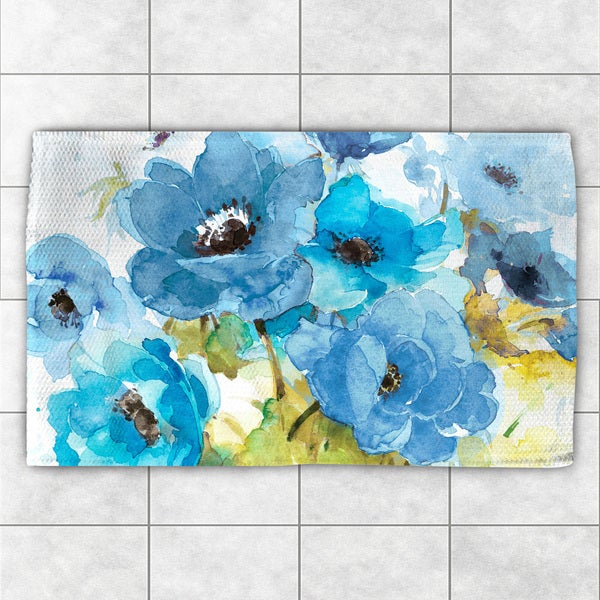 Laural Home Watercolor Bouquet Blue Polyester Accent Rug - 4' x 6'