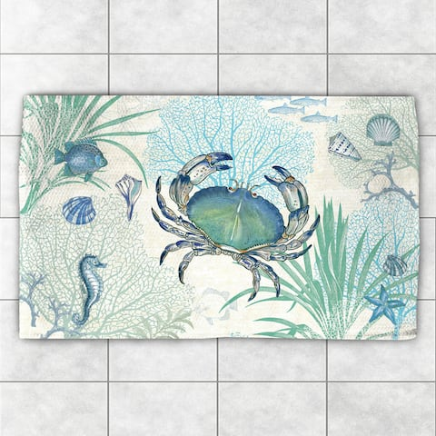 Laural Home 'Blue Creature of the Sea' Multicolor Polyester Accent Rug