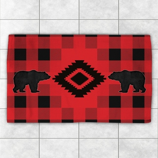 Laural Home Lodge Buffalo Plaid Red and Black Polyester Accent Rug (4' x 6')