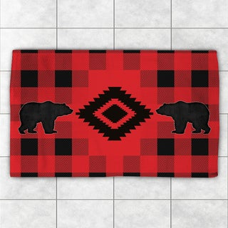 Laural Home Lodge Buffalo Plaid Red and Black Polyester Accent Rug