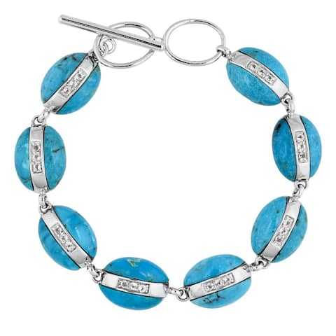 Kingman Sterling Silver Turquoise and Cubic Zirconia Bracelet - Blue