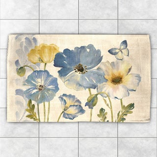 Laural Home Blue Poppies Blue Polyester Flatweave Accent Rug (4' x 6')