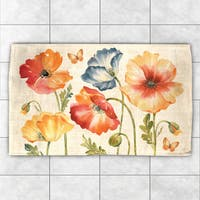 Laural Home Colorful Poppies Multicolor Polyester Accent Rug - multi