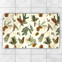 Laural Home Evergreen Pinecones Green/brown Polyester Accent Rug - 4' x 6'