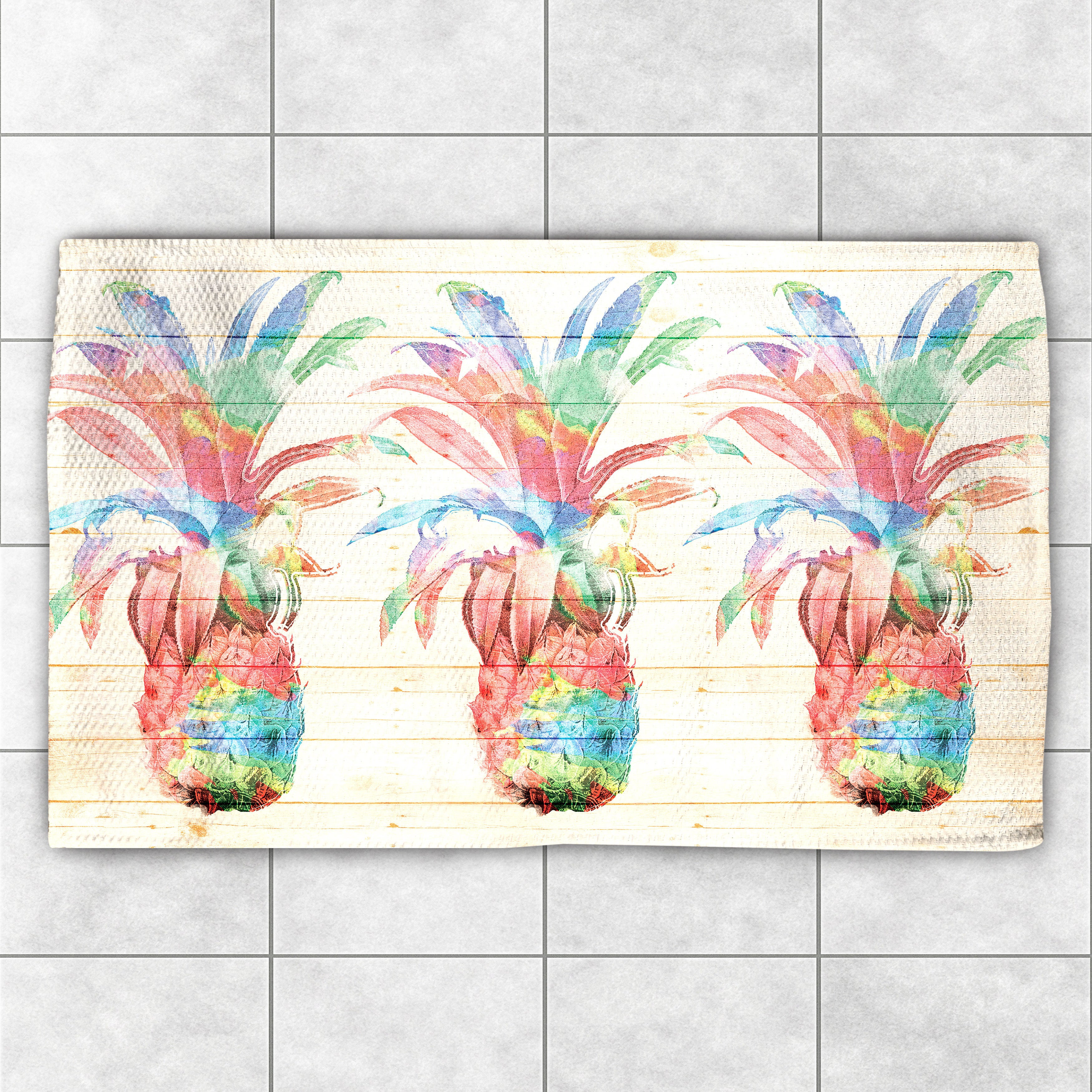 Laural Home Watercolor Pineapples Multicolor Polyester Ac...