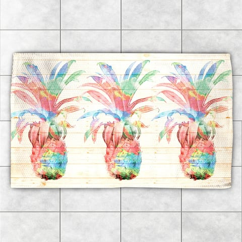 Laural Home Watercolor Pineapples Multicolor Polyester Accent Rug