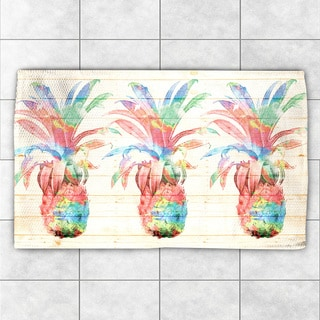 Laural Home Watercolor Pineapples Multicolor Polyester Accent Rug (2' x 3')