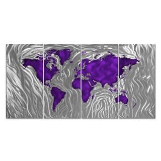 Ash Carl 'Mapped Out' Metal Wall Art (Option: Purple)