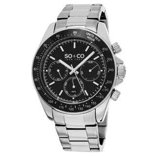 SO & CO New York Men's Multifunctional Stainless Steel Black Dial Quartz Movement Watch
