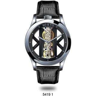 SO&CO New York Men's Mechanical Skeleton Black Leather Strap Watch