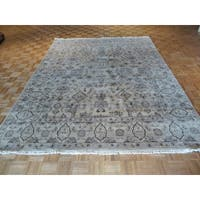 Oushak Beige Wool Oriental Hand-knotted Rug - 7'11 x 10'1