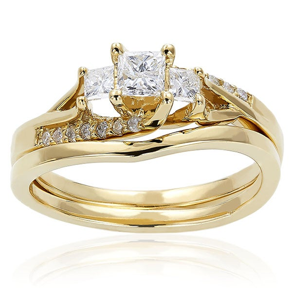 Annello by Kobelli 14k Gold 1/2ct TDW Princess-cut Diamond Bridal Ring Set (H-I, I1-I2)