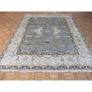 Oushak Oriental Sky Blue Wool Hand-knotted Area Rug (8'2 x 9'10)