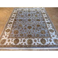 Oriental Light Blue Wool and Silk Tabriz Hand-knotted Rug (8' x 10') - 8' x 10'