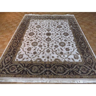 Oriental Ivory Wool and Silk Hand-knotted Tabriz Rug (8'1 x 10'1)