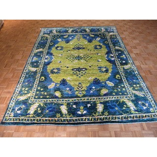Yellow Silk/Bamboo Oriental Hand-knotted Rug (8'1 x 10'7)