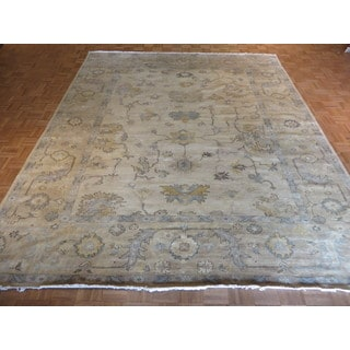Oriental Ivory Oushak with Wool Hand-knotted Rug (9'5 x 11'7)