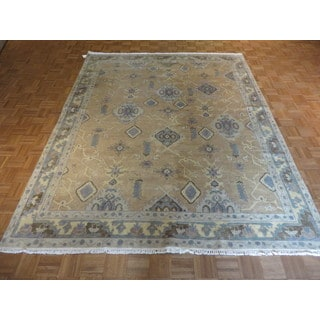 Oriental Beige Fine Turkish Oushak with 100-Percent Wool Hand-knotted Rug (7'11 x 9'11)