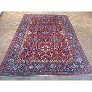 Red Wool Oriental Hand-knotted Kazak Rug (7'2 x 9'9)