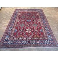 Red Wool Oriental Hand-knotted Kazak Rug - 7'2 x 9'9