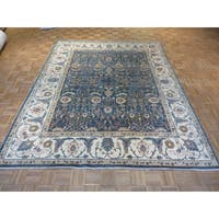 Peshawar Blue Wool Hand-knotted Oriental Rug - 8'2 x 10'1