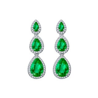 Women's Cubic Zirconia Green Gems Teardrop Journey Push Back Stud Earrings
