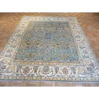 Peshawar Sky Blue/Multicolor Wool Hand-knotted Oriental Rug - 8'3 x 9'7