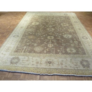 Oriental Oushak Taupe Wool Hand-knotted Rug (9 x 11'10)