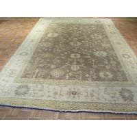 Oriental Oushak Taupe Wool Hand-knotted Rug - 9 x 11'10