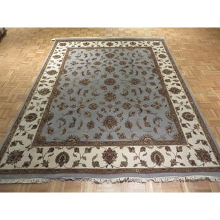 Tabriz Oriental Blue/Tan/Red/Sage/Gold/Brown Wool and Silk Hand-knotted Rug (7'11 x 9'11)