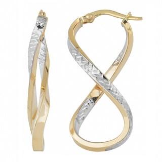 Fremada Italian 14k Two-tone Gold High Polish and Diamond-cut Infinity Hoop Earrings