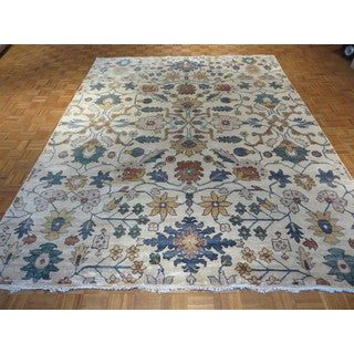 Ivory Bamboo Silk Hand-knotted Oriental Rug (9'1 x 11'9)