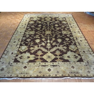 Brown Wool Hand-knotted Oushak Oriental Rug (9'1 x 11'10)