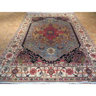Serapi Heriz Light Blue Wool Hand-knotted Oriental Rug (8'10 x 12)