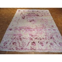 Oriental Purple/Ivory Hand-knotted Viscose from Bamboo Rug - 7'11 x 10'